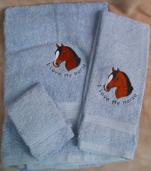 Embroidered I Love My Horse on Blue Wash, Hand,  Bath Towel Set