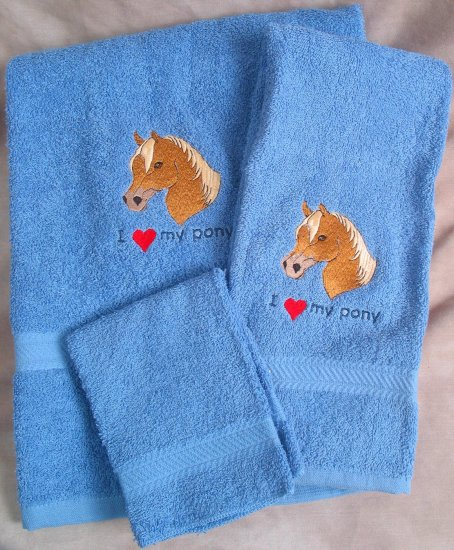 Embroidered I Love My Pony Blue Wash Hand Bath Towel Set
