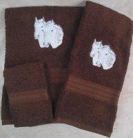 Embroidered White Connemara Horses on Dark Brown Wash Hand Bath Towel Set