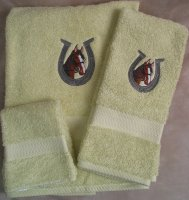 Embroidered Horse and Horse Shoe on Light Green Wash Hand Bath Towels Set