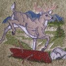 Embroidered White Tail Deer on Sage Green Wash Hand Bath Towel Set
