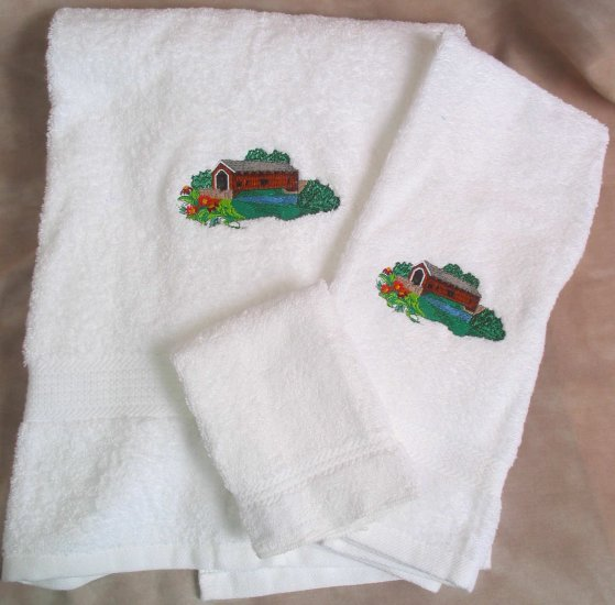 Embroidered Covered Bridge with Flowers on White Wash Hand Bath Towel Set