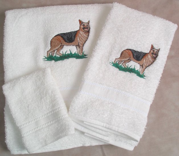 Embroidered German Shepherd Dog on a White Wash Hand Bath Towel Set