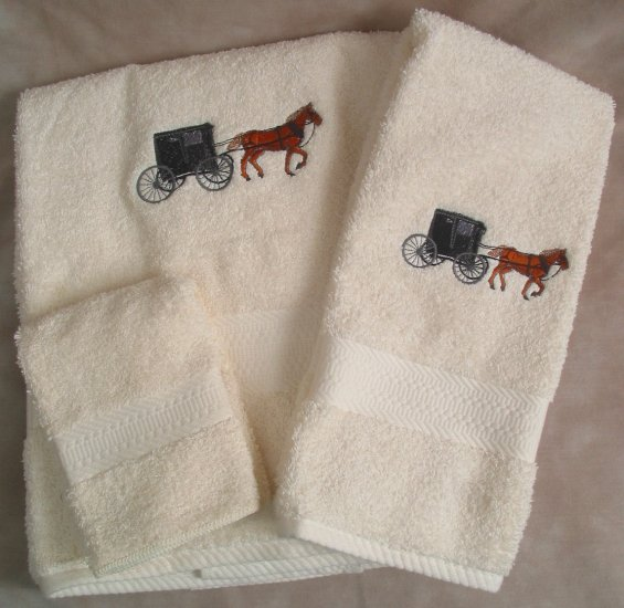 Embroidered Amish Horse & Buggy on a Cream Wash Hand Bath Towel Set
