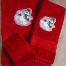 Embroidered Snowman Making a Snow Angel on Red Wash, Hand,  Bath Towel Set