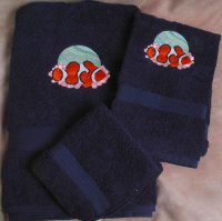 Embroidered Clown Fish on Dark Blue Wash, Hand,  Bath Towel Set