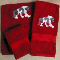 Embroidered Gypsy Horse on a Red Wash Hand Bath Towel Set