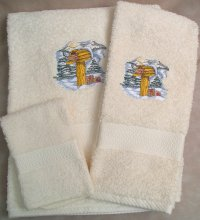 Embroidered Snow Covered Mailbox on a Cream Wash Hand Bath Towel Set