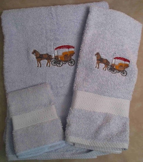 Embroidered Horse and Surrey on a Light Blue Wash Hand Bath Towel Set