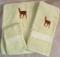 Embroidered Baby Llama on a Light Green Wash Hand Bath Towel Set