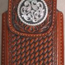 Brown Leather Basket Weave Cell Phone Case w/Silver Concho