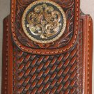 Brown Leather Basket Weave Cell Phone Case w/Gold Concho