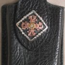 Shiny Black Leather Cell Phone Case With Copper Concho