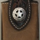 Brown Leather Cell Phone Case, Texas Star Concho