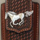 Brown Leather Basket Weave Cell Phone Case, Horse Concho