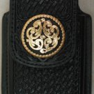 Black Leather Basket Weave Cell Phone Case w/Gold Concho