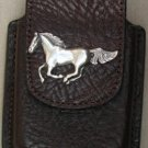 Dark Brown Leather Cell Phone Case With Horse Concho