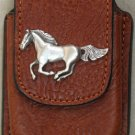 Tan Leather Cell Phone Case With Horse Concho