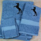 Embroidered Black Rearing Horse on Medium Blue Bath Towel Set