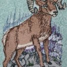Embroidered big horn sheep on Medium Blue Wash Hand Bath Towel Set
