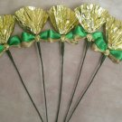 Rosettes Miniature Horse Mane Flowers - Gold & Green