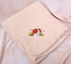 Polyester Brittany Spaniel Head Beige Fleece Throw