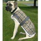 Medium Fleece Plaid Dog Coat - Reflective Strip