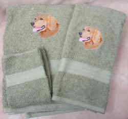 Embroidered Golden Retriever Dog Green Wash Hand Bath Towel Set