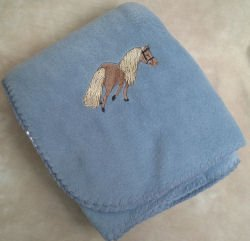 Polyester Miniature Horse Blue Throw Blanket