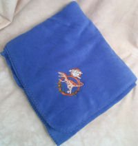 Deinonychus Dinosaur Embroidered Fleece Throw Blanket