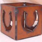 Rustic Metal Horseshoe Candle Holder