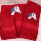 Embroidered White Horse Head Red Bath Towel Set