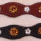 Western Black Leather Bracelet with Amber Stones