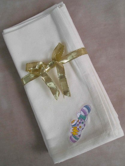 Embroidered Easter Eggs Cream Napkins Set of Four