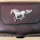 Leather Cell Phone Case Horizontal - Dark Brown with Horse Concho