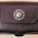 Leather Cell Phone Case Horizontal - Dark Brown with Round Concho