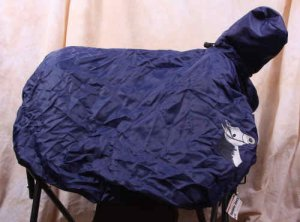 White Horse Head Stow-away Black Saddle Cover