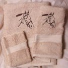 Embroidered Bridled Horse Head on Beige Bath Towel Set