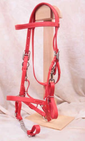 Red Beta Halter Bridle - Small Draft Horse Size