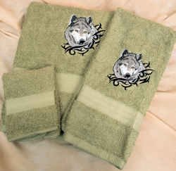 Embroidered Gray Wolf Green Wash Hand Bath Towels Set