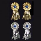 Exselle Blue Ribbon Earrings - Gold