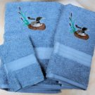 Two Loons on Medium Blue Wash Hand Bath Towels Set