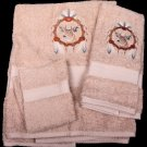 Embroidered Dream Catcher Deer on Sage Beige Wash Hand Bath Towels Set