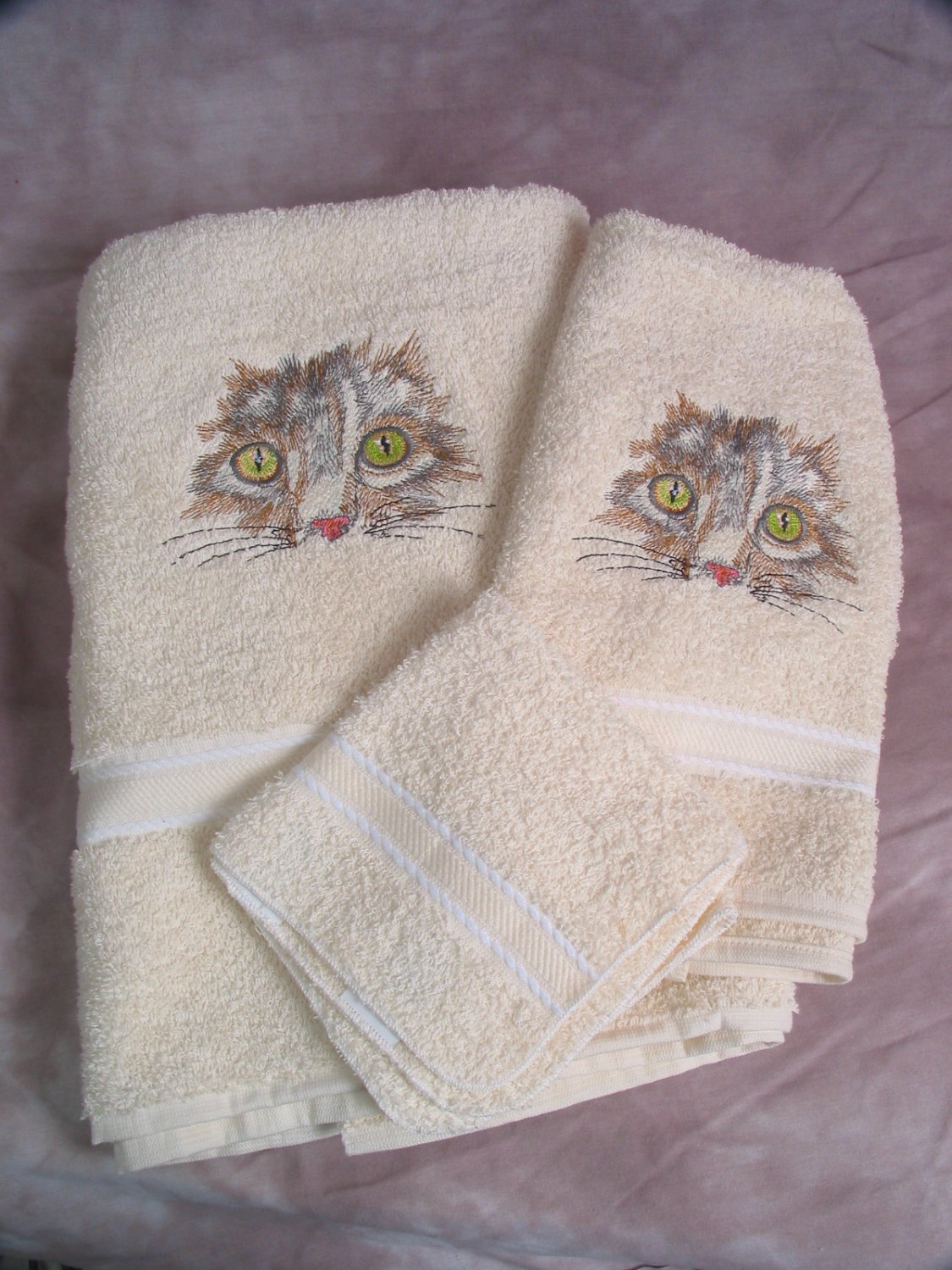Embroidered Cat Face on Cream Bath Towels Set