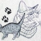 Gray Tabby Cat Embroidered Bath Towels