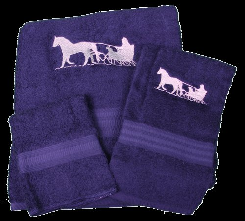 Horse and Sleigh on Navy Embroidered Bath Towels
