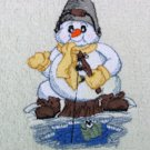 Embroidered Ice Fishing Snowman on Red Wash Hand Bath Towels Set