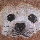 Embroidered Harp SEAL Beige Wash Hand Bath Towels Set