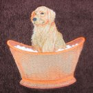 Golden Retriever Dog  on Dark Brown Embroidered Bath Towels