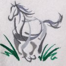 Galloping Horse Oriental Style Embroidered Medium Green Bath Towels